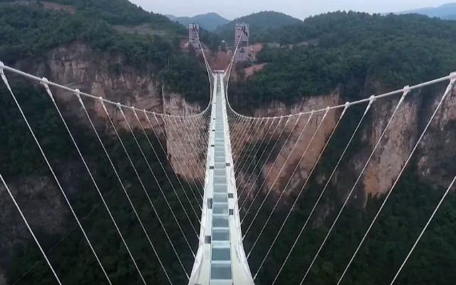 China's Zhangjiajie Grand Canyon bridge (YouTube screenshot)