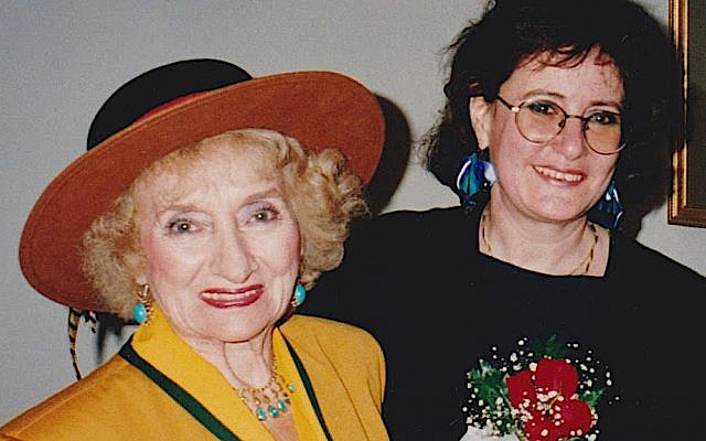 The pioneering photojournalist Ruth Gruber, left, and the longtime JTA European correspondent Ruth Ellen Gruber met at a book launch party in 1992. (Courtesy of Ruth Ellen Gruber)