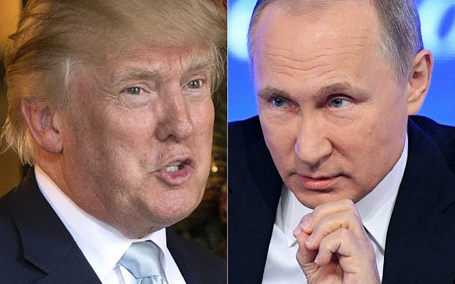 This combination of pictures created on December 30, 2016 shows a file photo taken on December 28, 2016 of then-US President-elect Donald Trump, left, in Palm Beach, Florida and a file photo taken on December 23, 2016 of Russian President Vladimir Putin speaking in Moscow. (AFP Photo/Don Emmert, Natalia Kolesnikova)
