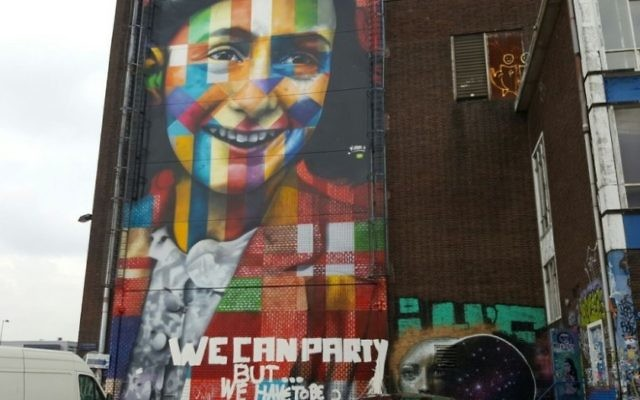 Modern mural of Anne Frank in Amsterdam