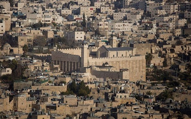 Illustrative: A general view of the West Bank city of Hebron with the Tomb of the Patriarchs at center, on January 18, 2017. (Lior Mizrahi/ Flash90)