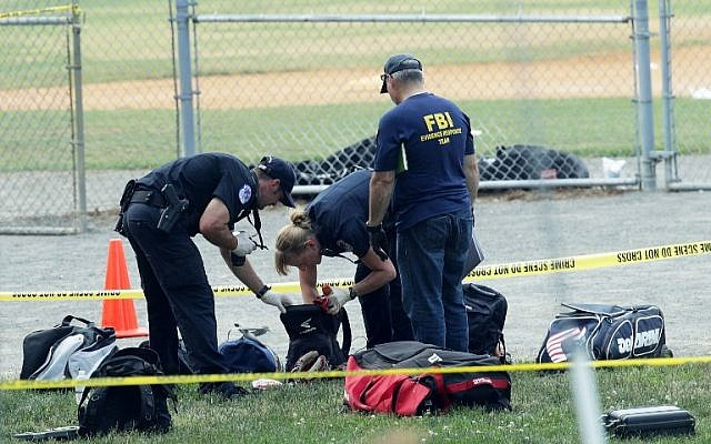 Investigators search the bags that have been left behind at the Eugene Simpson Stadium Park where a shooting took place on June 14, 2017 in Alexandria, Virginia. (Alex Wong/Getty Images/AFP)