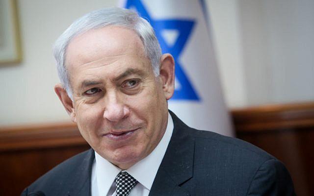 Prime Minister Benjamin Netanyahu leads the weekly cabinet meeting in Jerusalem on June 11, 2017. (Marc Israel Sellem/POOL)