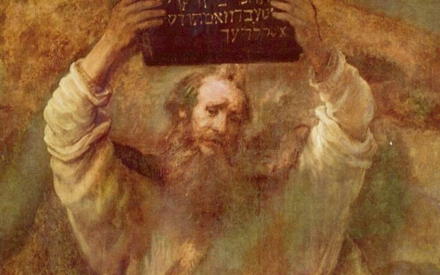 Moses with the Tablets of the Law (oil on canvas) by Rembrandt Harmensz van Rijn (1606-1669).