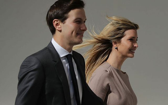 WASHINGTON, DC - FEBRUARY 10:  (AFP OUT)  White House Senior Advisor to the President for Strategic Planning Jared Kushner (L) and his wife and President Donald Trump's daughter Ivanka Trump walk down the West Wing Colonnade following a bilateral meeting between Trump and Japanese Prime Minister Shinzo Abe February 10, 2017 in Washington, DC. Trump and Abe are expected to discuss many issues, including trade and security ties and will hold a joint press confrence later in the day.  (Photo by Chip Somodevilla/Getty Images)