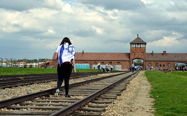 A student on a trip to the Auschwitz-Birkenau camp site in modern-day Poland on April 27, 2014. (Yossi Zeliger/Flash 90)
