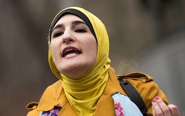 Activist Linda Sarsour speaks during a 'Women For Syria' gathering at Union Square, April 13, 2017 in New York City. (Drew Angerer/Getty Images via JTA)