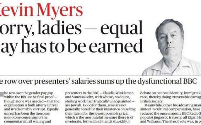 Sunday Times Irish Edition, Kevin Myers: Sorry ladies--equal pay has to be earned (Scan)