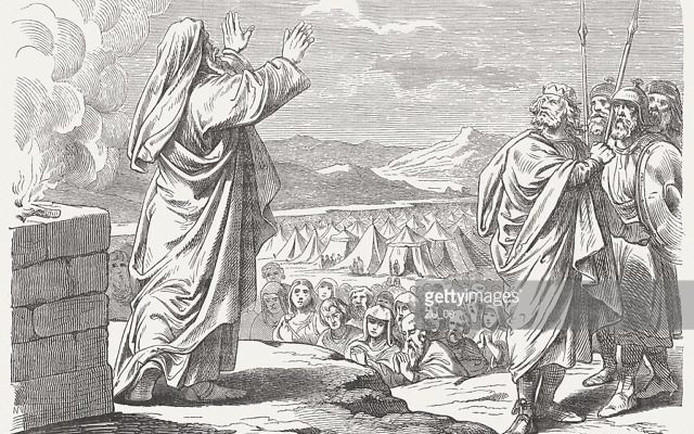 Balaam blesses Israel (Numbers, Chapter 24). Published 1877. Woodcut after a drawing by Julius Schnorr von Carolsfeld (German painter, 1794-1872)