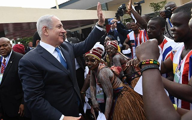 Israeli Prime Minister Benjamin Netanyahu greeting Liberians upon arriving at the airport in Monrovia, June 4, 2017. (Prime Ministry of Israel/Anadolu Agency/Getty Images)