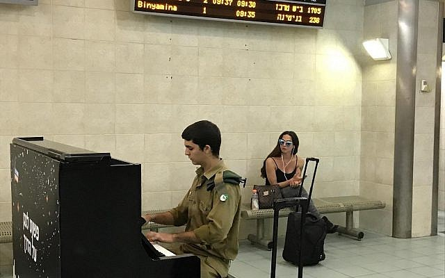 Piano in the Tel Aviv U rail station (courtesy Alon Tal)