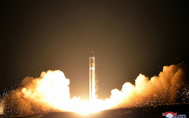 The Hwasong-15 intercontinental ballistic missile, at an undisclosed location in North Korea, November 29, 2017. (Image provided by the North Korean government, Korean Central News Agency/Korea News Service via AP)