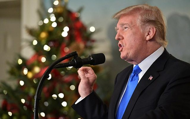 US President Donald Trump delivers a statement on Jerusalem from the Diplomatic Reception Room of the White House in Washington, DC, on December 6, 2017. (Saul Loeb/AFP)