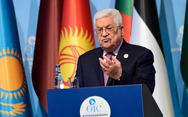 Illustrative. Palestinian Authority President Mahmoud Abbas speaks at a press conference following a summit of the Organization of Islamic Cooperation (OIC) about US President Donald Trump's recognition of Jerusalem as Israel's capital, on December 13, 2017, in Istanbul. (AFP Photo/Yasin Akgul)