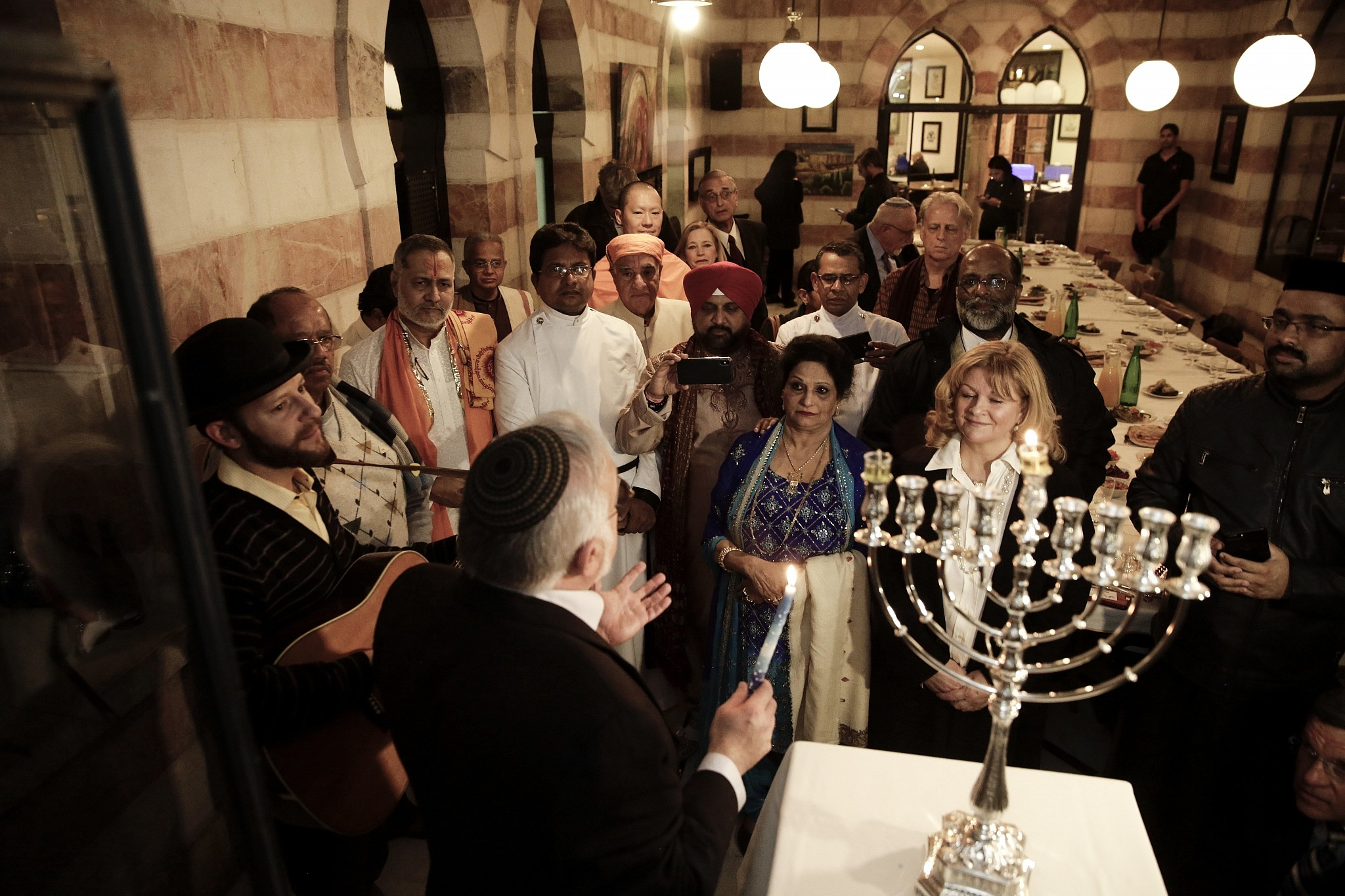 Illustrative An Interfaith Group From The Gulf State Of Bahrain Attends Hanukkah Candle Lighting In