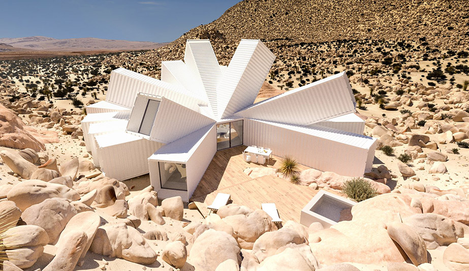 Starbust Container House, Joshua Tree, CA. Disign and Photo by James Whitaker.