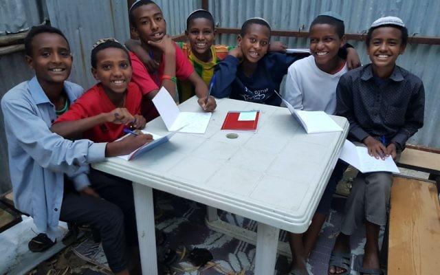 Illustrative. Hebrew lessons in the Hatikva Synagogue, Gondar. (Eden David/the Struggle for Ethiopian Jewry))