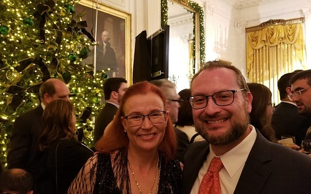 Rabbi David Kaufman and his wife Julie, attending the White House Hanukkah party in Washington, D.C., Dec. 7, 2017. (Courtesy of Kaufman)