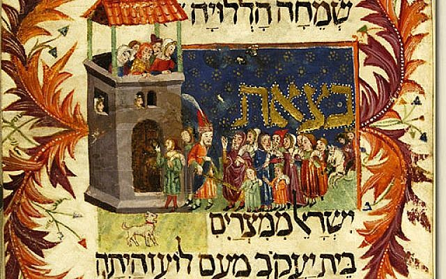Illustration of Moses leading the Children of Israel out of Egypt in the Kaufmann Haggadah, 14th century. (Wikimedia Commons)