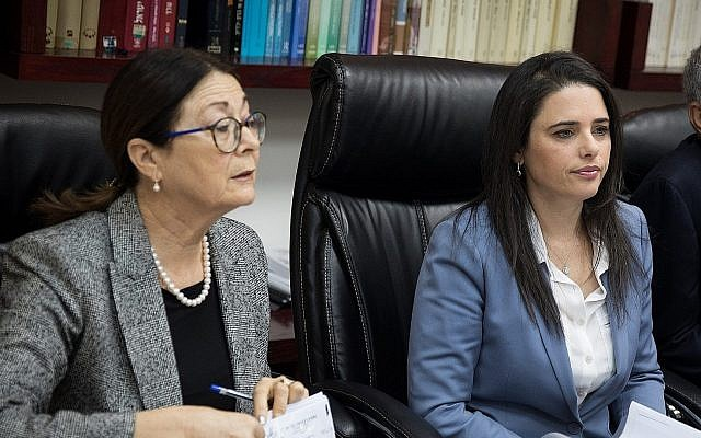 Justice Minister Ayelet Shaked (r) and Supreme Court President Esther Hayut on February 22, 2018. (Hadas Parush/Flash 90)
