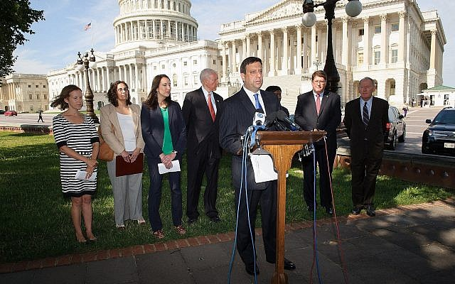 Illustrative: Director of the Orthodox Union's Advocacy Center Nathan Diament speaks at a press conference on the Religious Freedom Restoration Act, July 16, 2014. (Courtesy)