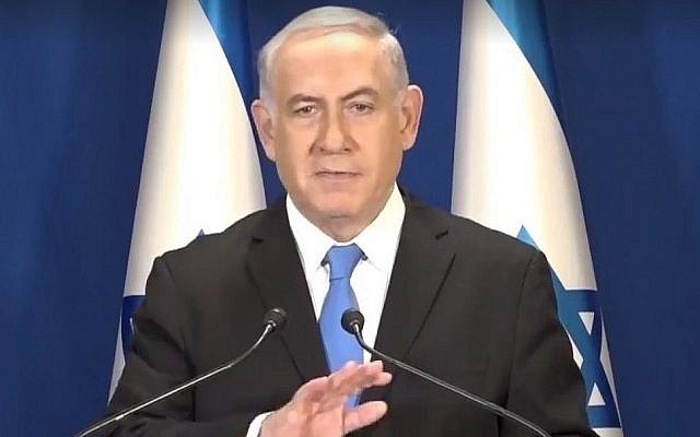 Prime Minister Benjamin Netanyahu reacts to the Israel's Police recommendation he be indicted for bribery in a pair of criminal investigations on February 13, 2018. (Screen capture: Facebook)