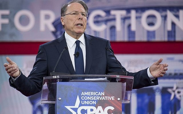Wayne LaPierre, executive vice president of the National Rifle Association, addressing the Conservative Political Action Conference in Oxon Hill, Maryland, February 22, 2018. (Tom Williams/CQ Roll Call)