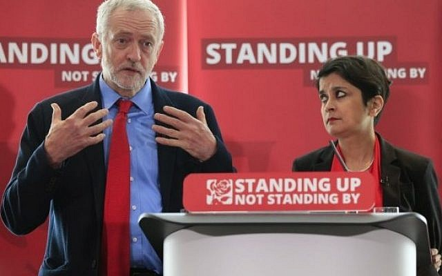 Jeremy Corbyn with Shami Chakrabarti at the inquiry into Labour anti-Semitism   (Jewish News)