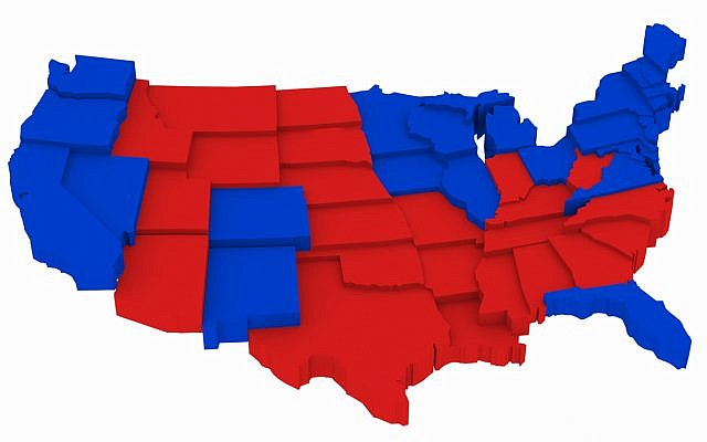 Illustrative: Red and blue states, US presidential elections 2012. (via iStock)