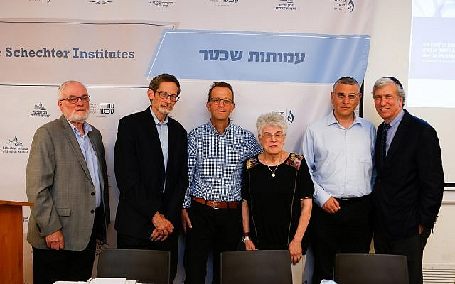 At the April 30, 2018, State of Israel and the Jews of North America: How Can We Bridge the Gaps? (From left to right) Rabbi Joel Roth, Rabbi David Golinkin, Dr. Doron Bar, Rabbi Judith Hauptman, Rabbi Benny Lau and Dr. Arnold Eisen. (Eyal Weiss/Schecter Institute of Jewish Studies)