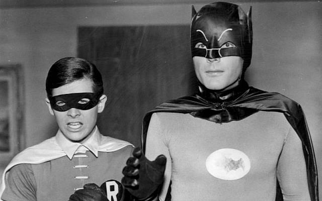 Batman TV series stars Burt Ward (left) and Adam West (right), as Dick Grayson/Robin and Bruce Wayne/Batman, respectively. 1966 (Cc via Wikipedia)