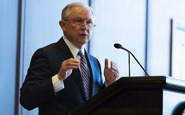 US Attorney General Jeff Sessions delivers remarks on immigration and law enforcement actions at Lackawanna College in Scranton, Pennsylvania, on June 15, 2018. (Jessica Kourkounis/Getty Images/AFP)