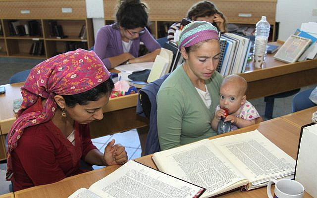 Jewish Orthodox women study Talmud at Kibbutz of Migdal Oz religious study seminary on May 23, 2013. (FLASH90 / Gershon Elinson)