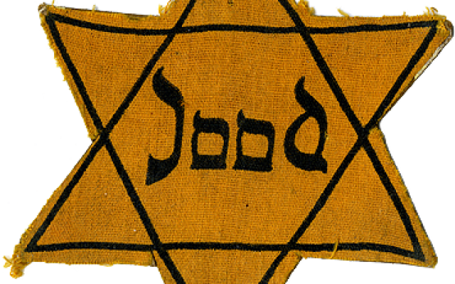 WW II Star of David with the Dutch word for Jew with Latin letters in the style of Hebrew letters