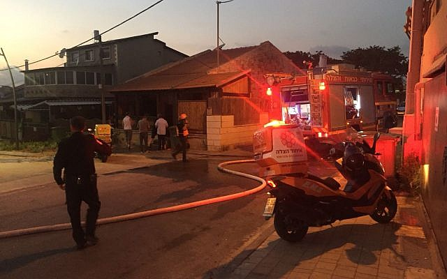United Hatzalah on the scene of the first rocket that fell last night in Sderot.