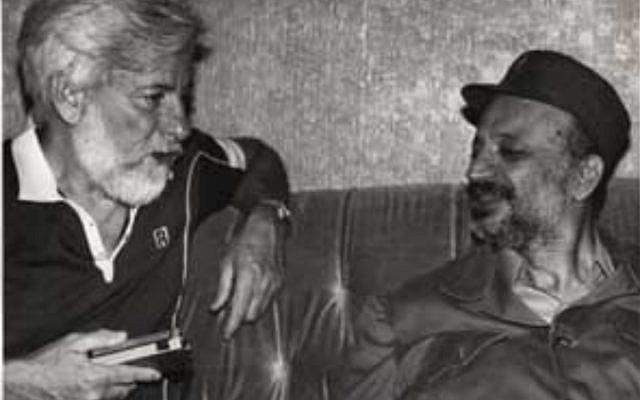 Uri Avnery meeting with PLO chair Yasser Arafat in Beirut. Credit: Wikimedia Commons, via Jewish News).