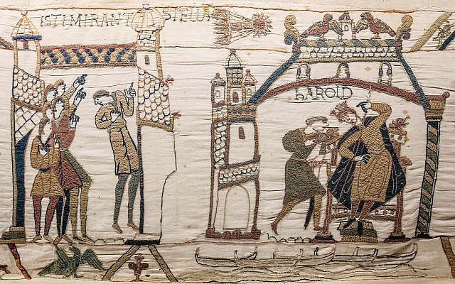 Halley's comet seen above a cowering King Harold on the Bayeux Tapestry. (Public Domain Myrabella, Wikimedia Commons)
