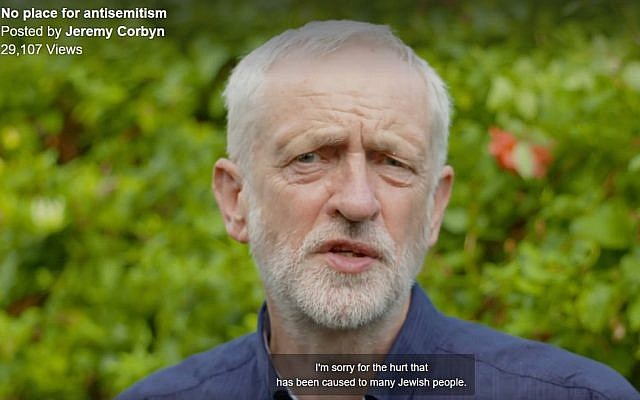 Screenshot from Jeremy Corbyn's video apology, posted online (Credit: Jewish News)