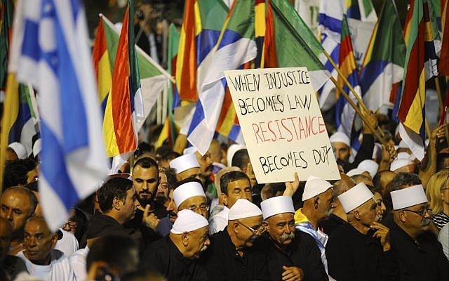 Between 50,000 and 90,000 Israeli Druze and their Jewish supporters crowd Tel Aviv's Rabin Square on Aug. 4 to oppose the country's new Jewish nation-state law. (Larry Luxner)