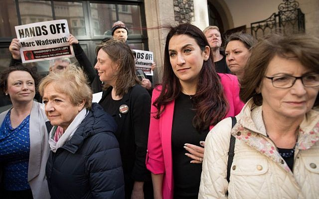 Labour MPs Margaret Hodge (second left), Jess Phillips (third left) and Luciana Berger (second right) at a demonstration outside the Labour party disciplinary hearing for Marc Wadsworth in London.   Photo credit: Stefan Rousseau/PA Wire