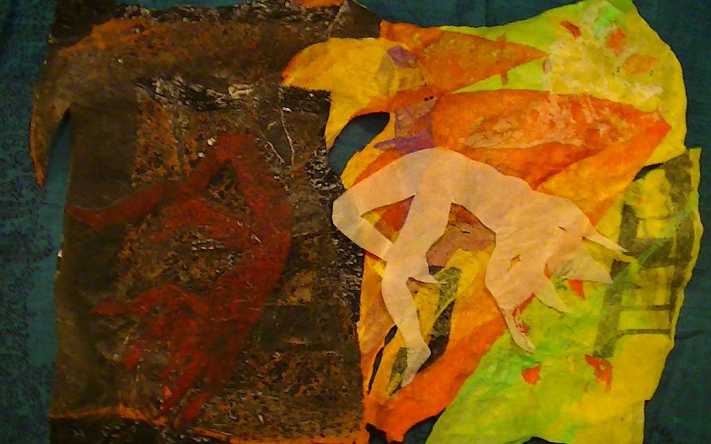 """""""The Heart prepares a Tomb for those Dead to Themselves,"""" fused plastic bags, paper, 2014"""