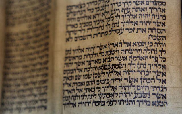 A Torah scroll, opened to Parshat Ki Tavo, October 18, 2009. (Yaakov Naumi/Flash90)