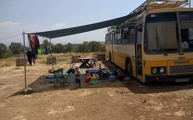 Our lodging in a converted bus at a winery outside of Hatzor. Really! (Photo credit: Me)