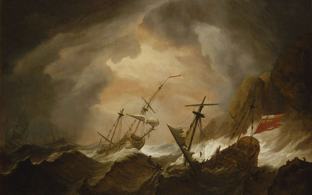 "Detail from ""Two English Ships Wrecked in a Storm on a Rocky Coast"" Willem van de Velde II (1633–1707), National Maritime Museum"