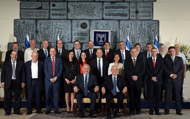 The thirty-fourth government of Israel at its initial formation together with President Rivlin, May 2015.