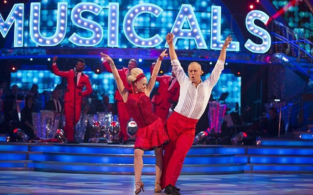 Oksana Platero and Judge Robert Rinder during the live show of BBC1 show, Strictly Come Dancing, as Judge Rinder shuffled out of Strictly Come Dancing after losing a dance off with sports presenter rival Ore Oduba.  (Photo credit: Guy Levy/BBC/PA via Jewish News)