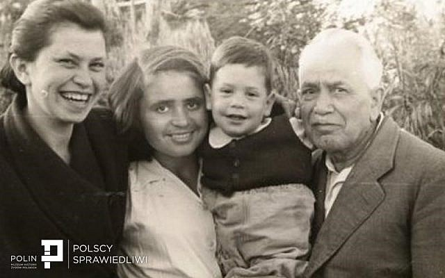 Marta Winter (2nd from left) with her Aunt Lunja Szternszus, Lunja's son Gadi, and Marta's grandfather, Izaak Szternszus, in Israel, ca 1951. (Source: Polin Museum of the History of Polish Jews)
