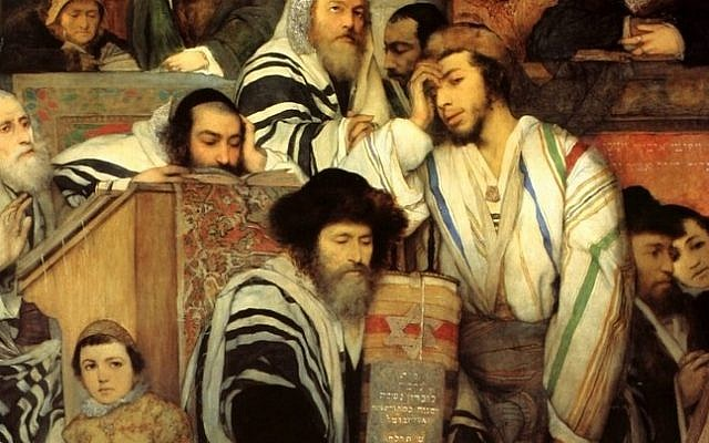 Illustrative. Jewish boys and men in the synagogue on Yom Kippur, by Maurycy Gottlieb, 1878. (Wikipedia)