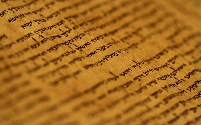 Illustrative: An ancient Torah scroll. (Miriam Alster/Flash90)