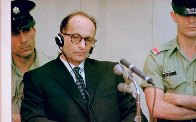 Adolph Eichmann during his trial in Jerusalem (public domain)